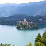 View of lake Bled from balcony