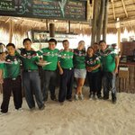 Restaurant staff befor soccer game of Mexico