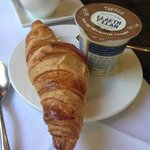 Fresh croissant and sumptuous toffee yoghurt