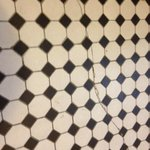 Cracked tiles in bathroom