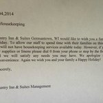 Letter saying no housekeeping is available