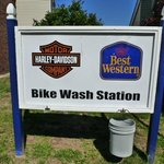 Bikers re offered a bike wash area