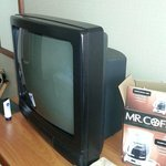 Look at the analog TV!  Oh, and also see the coffee maker I had to buy so I can make coffee!