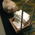 "Delivering ""clean"" sheets and towels (on a dirty cart) to a room near ours"