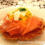Saffron infused Scrambled eggs with Smoked Salmon