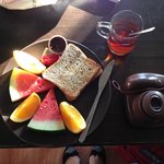 Breakfast (bread, fruit and tasty jam)