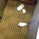 DIRTY SOCKS LEFT FROM OTHER GUESTS ROOM NEVER CLEANED