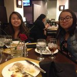 Enjoying awesome dinner with my daughters in the restaurant/lobby