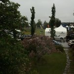 View of Start/Finish of Mayor's Midnight Sun Marathon from City Garden B&B bedroom window