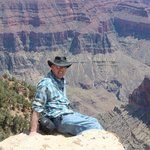 Living on the edge, below my feet about a 500 foot drop, north rim Grand Canyon Fourth of July w