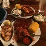 Yummy ribs and shrimp, sides were corn on the Cobb, coleslaw, and red rice with sausage! I
