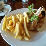 Turkey, cranberry & brie panini with chips.