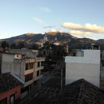 looking toward church from rooftop with Mt. Cotacachi in back, topping 16,200 ft!