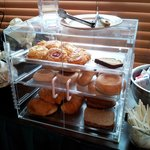 Danishes, cake, English muffins, bagels, crois