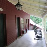 2nd floor porch with rocking chairs