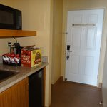 The wet bar and front door