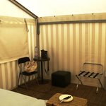 Large tent with table and storage