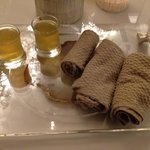 Welcome drink and towel at the spa.
