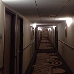 Creepy hallway with low ceilings.