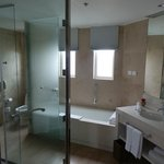 Lovely bathroom with bath and large walk in shower
