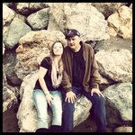 me and my dad. a beautiful day at Rockaway Beach