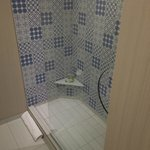 Shower with Dizzying Design and Poorly Placed Shelf