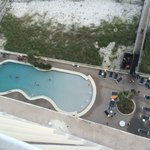 looking down from balcony to east pool
