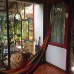 Indoor hammock in the Mariposa room