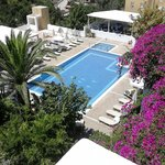 View from the top - restaurant, pool, flowers... paradise