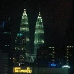 Room view of Petronas Towers at night