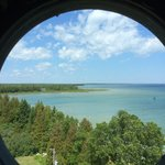 Porthole view while climbing up Cana Island Lighthouse