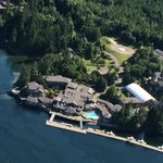 aerial shot of resort from Seaplane flight in.
