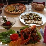 Fillet of 'Orata' (fish) Grilled veg & Pizza