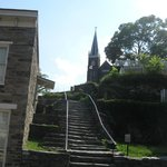 Steps of Appalachian Trail leading to Catholic church
