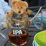 Our New club mascot enjoying a pint!