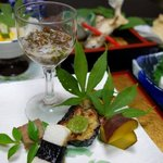 Kaiseki dinner with fresh feeling of the season in summer 夏の会席料理の一例
