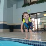 Our 3-year-old boy at the Courtyard's swimming pool