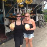 Jane and I enjoying fresh coconuts!
