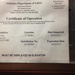 Expired elevator certificate of operation…