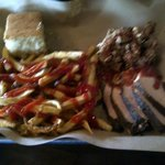 Turkey and Pork sampler, with fries and corn bread
