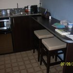 Microwave, Refrigerator & Sink Area w/Coffee Maker