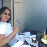 Enjoying bubbly on the balcony