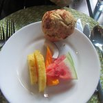 Breakfast included fresh tropical fruits and fresh baked muffins (different flavors everyday)