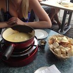 Cheese fondue with French bread