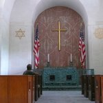 Little chapel:  Star of David and Buddhists Wheel of Righteousness