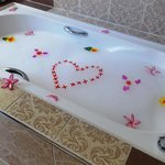 Our bath prepared by our butler