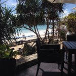 View from cafe bar to the beach