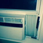 This is the ac unit that was in our room, not secured all the way, felt very unsafe on the 1st f