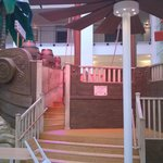 Half of the Pirate Ship in the Pool area extends into the Restaurant area where kids can explore