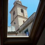 View of the church spire from our bedroom sky light